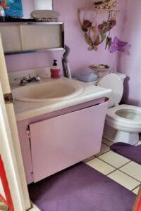 Old sink and toilet and broken vanity before bathroom remodel in Honolulu